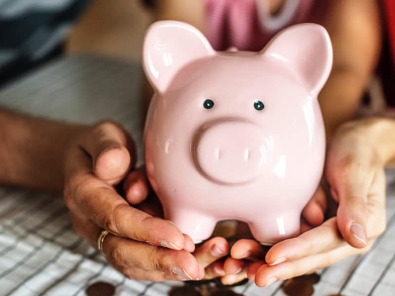 Piggy bank in Hands of Couple with Personal Financial Goals