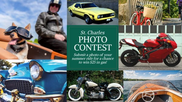 "Collage of photos that include classic cars, motorcycles and boats. The photo reads, ""St. Charles Photo Contest"""